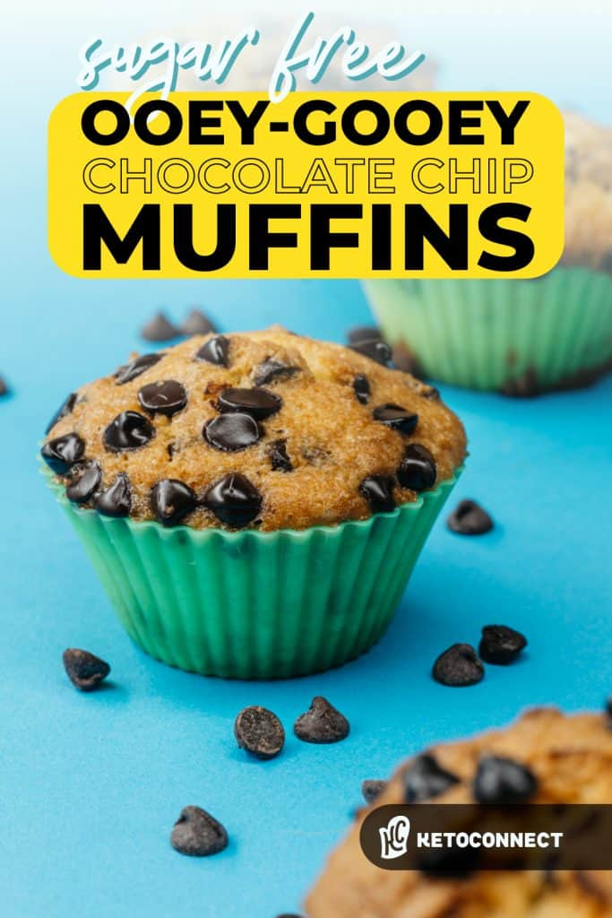 Pin for keto chocolate chip muffins