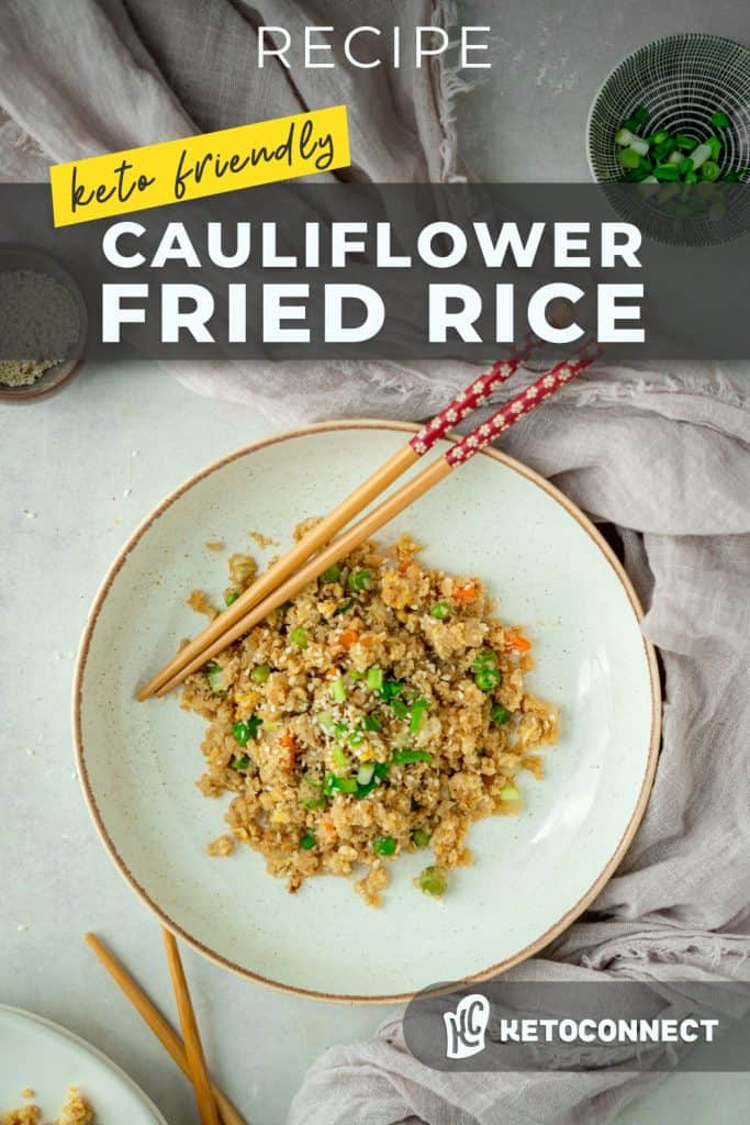 a bowl of keto cauliflower fried rice with chopsticks