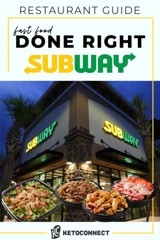 Subway restaurant with salads and protein bowls in the forefront