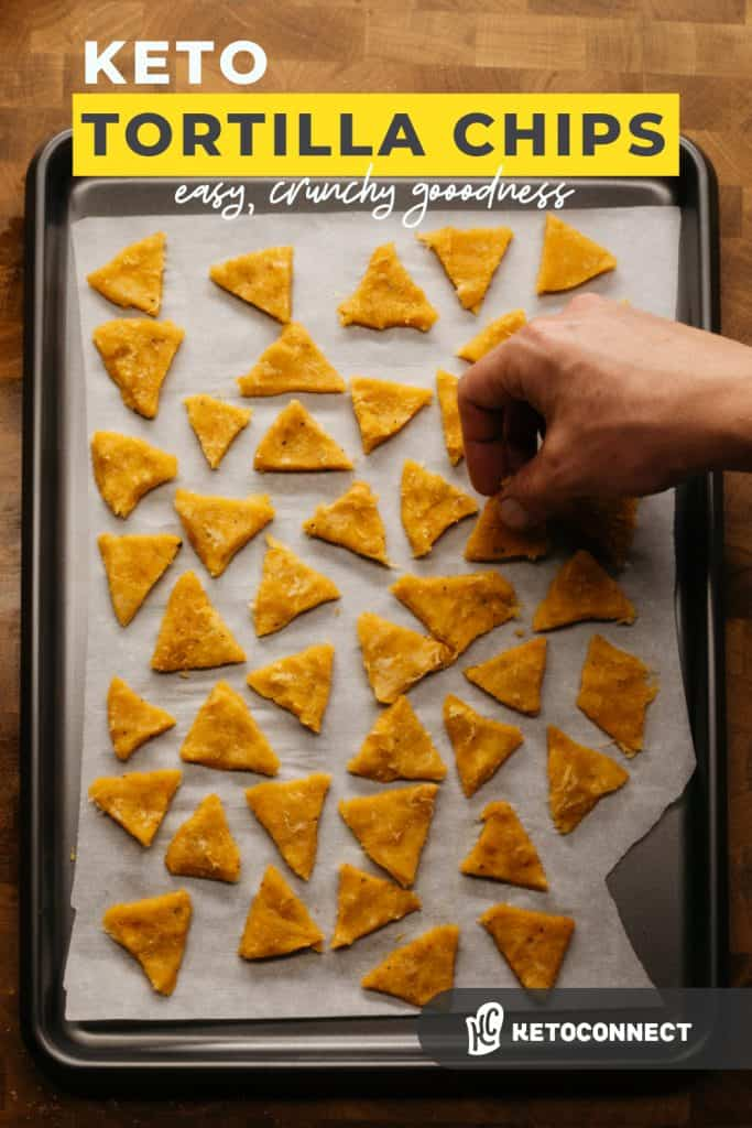 two ingredient keto tortilla chips on a baking sheet