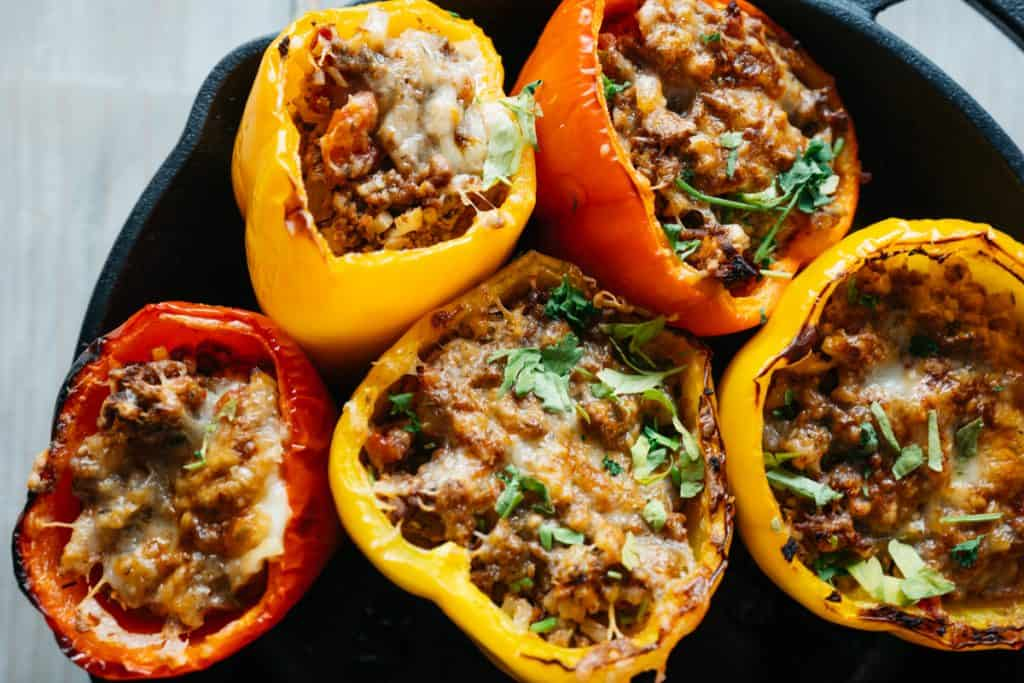 Close up of stuffed peppers from overhead