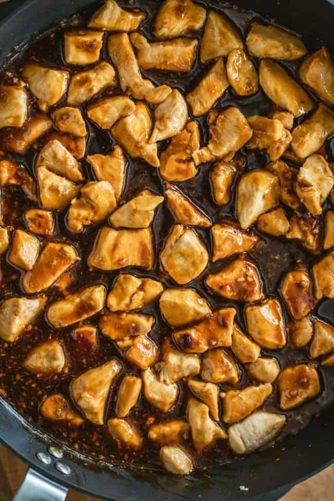 Overhead shot of teriyaki chicken in a pan