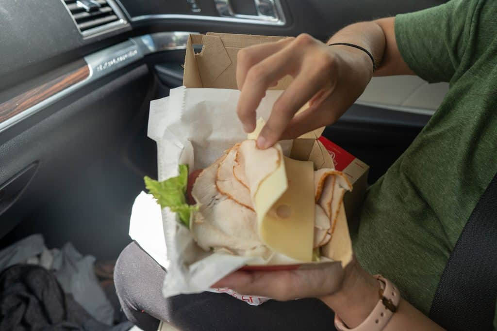 Arbys keto turkey sandwich in a container without the bun