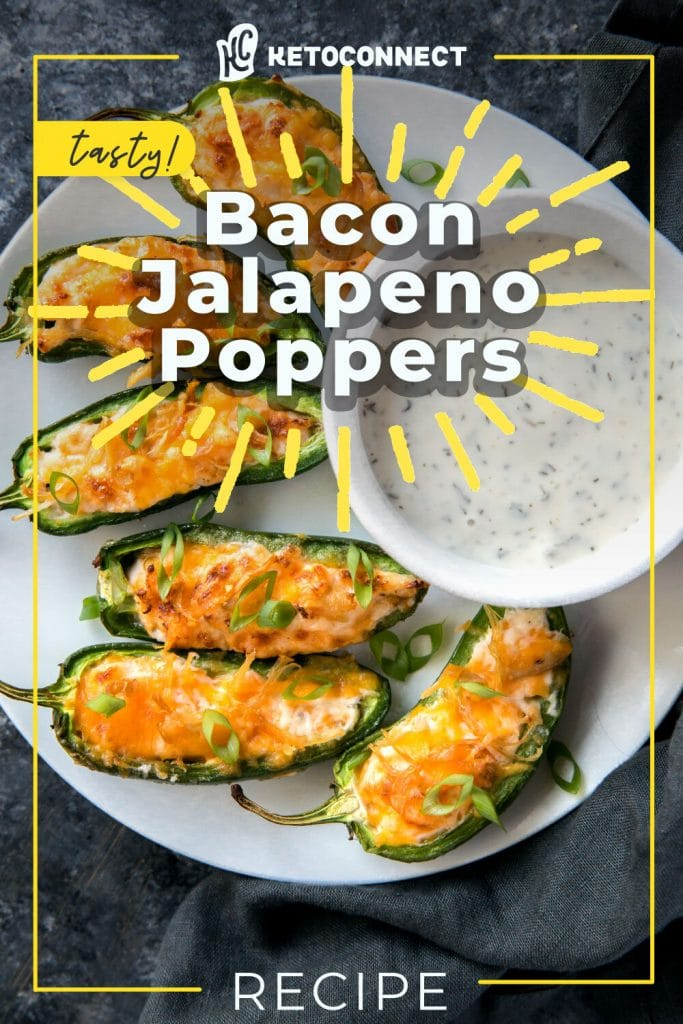 bacon keto jalapeno poppers on a plate with dipping sauce