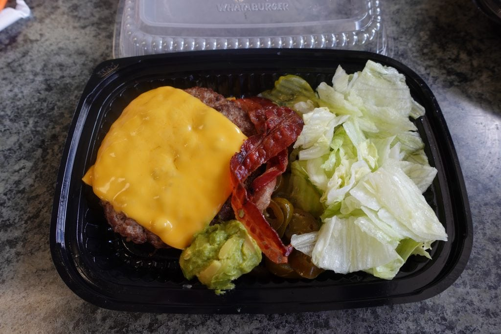 bacon cheeseburger without the bun from whataburger
