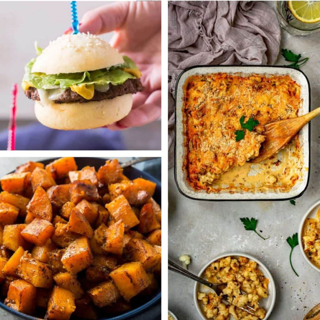 hamburger buns with mac and cheese and squash side dishes