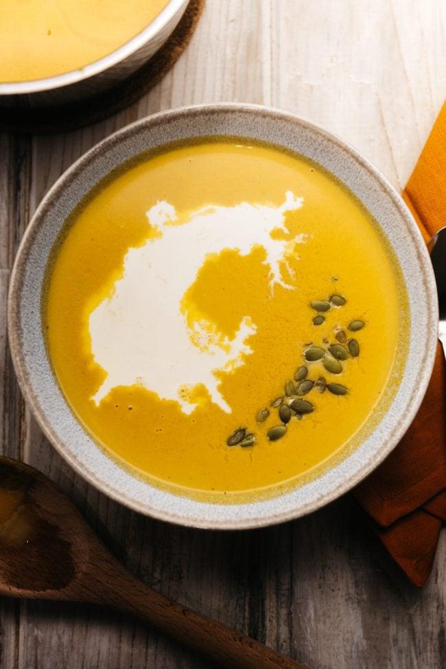 bowl of keto pumpkin soup on a table