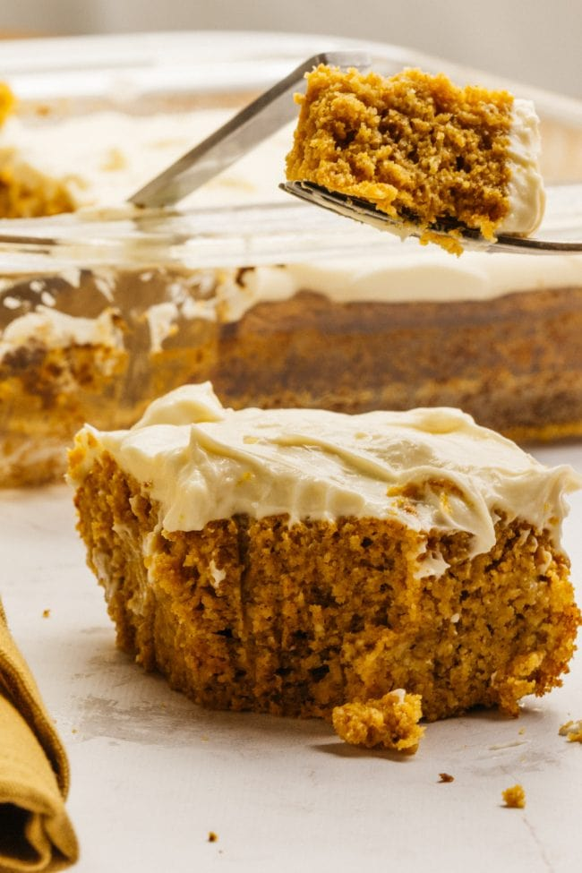 keto pumpkin bars with a bite taken out of it