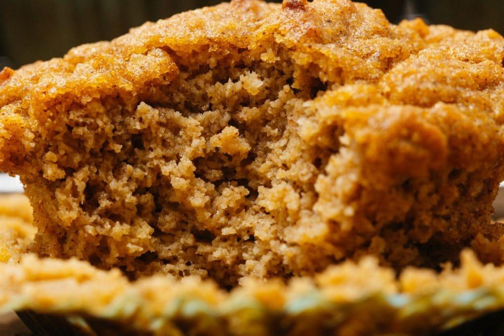 close up shot of keto pumpkin muffins
