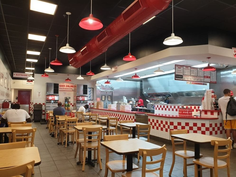 five guys burgers and fries indoor dining