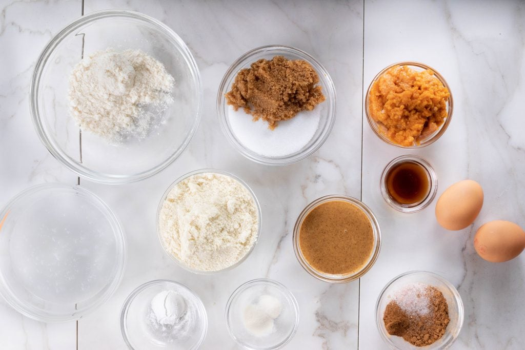 ingredients for keto pumpkin chocolate chip cookies on a table