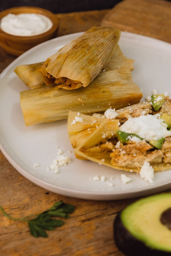 open tamale on a plate